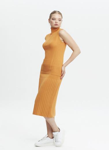 Stamina Stamina Premium  Bayan Balıkcı Yaka Kısa Kol Kazak Oranj